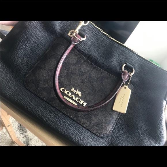 Coach Handbags - Coach Emma Black Signature Satchel